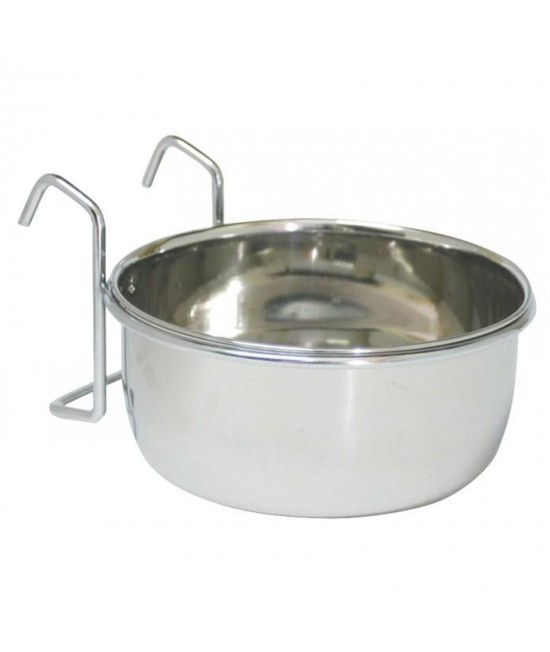 BirdLife Stainless Steel Coop Cup With Holder Bowl Feeder For Birds And Small Animals 10oz (295ml)