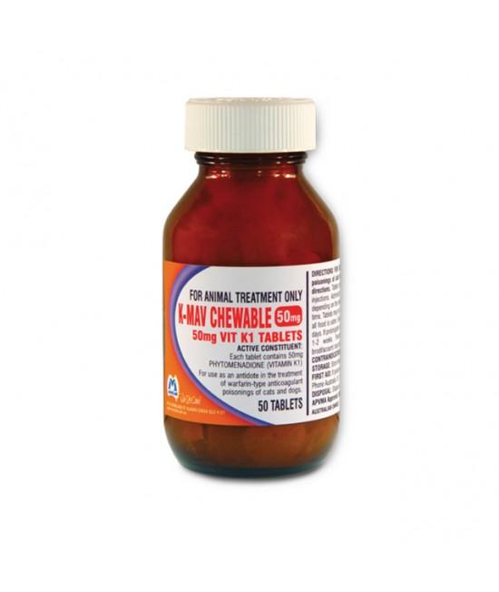Mavlab K-Mav Chewable Vitamin K1 Tablets For Cats And Dogs 50mg x 50