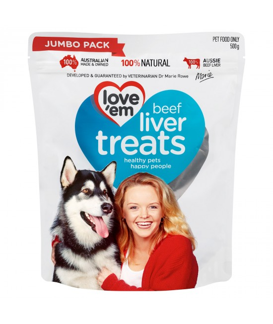 Love em Beef Liver Treats For Dogs 500gm