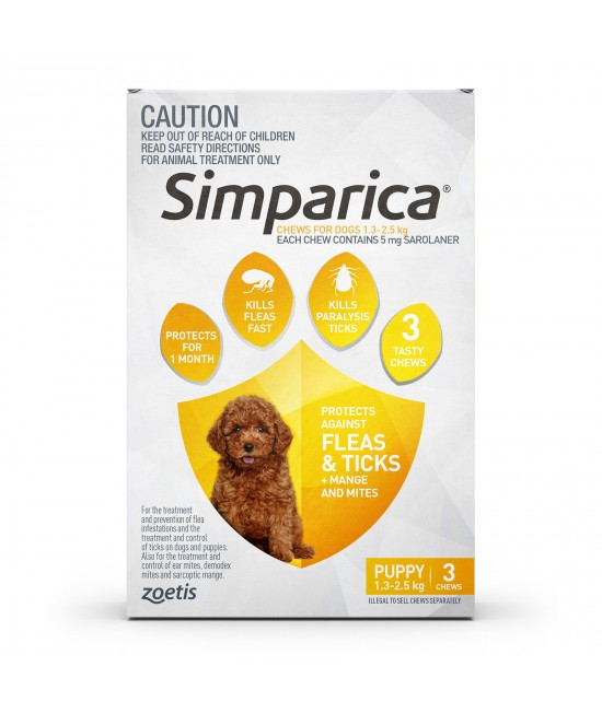 Simparica For Dogs 1.3 - 2.5kg Yellow Puppy 3 Chews