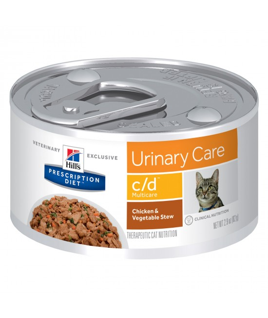 Hills Prescription Diet Feline c/d Urinary Care Multicare Chicken And Vegetable Stew 82gm x 24 Canned Wet Cat Food (3386)