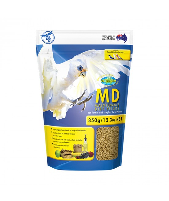 Vetafarm MD Maintenance Diet Parrot Pellets Complete Food For Small Medium Parrot Birds 350gm