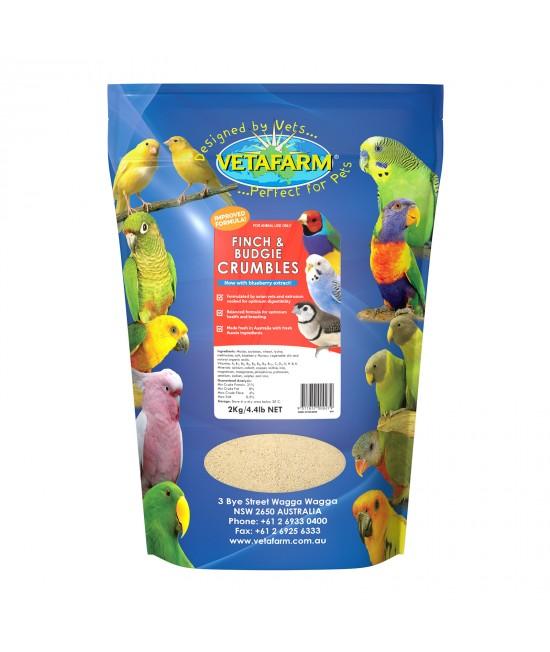 Vetafarm Finch And Budgie Crumbles Balanced Diet Food For Birds 2kg