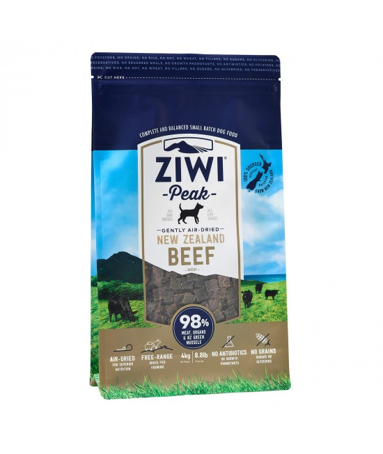 Ziwi Peak Grain Free Beef Puppy And Adult Air Dried Meat Dog Food 4kg