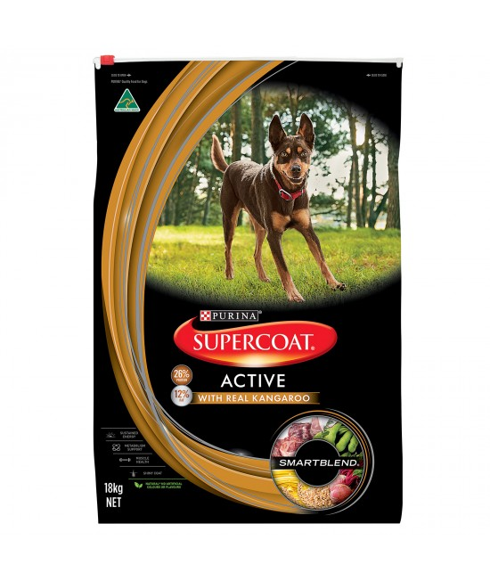 Supercoat Active Real Kangaroo Adult Dry Dog Food 18kg
