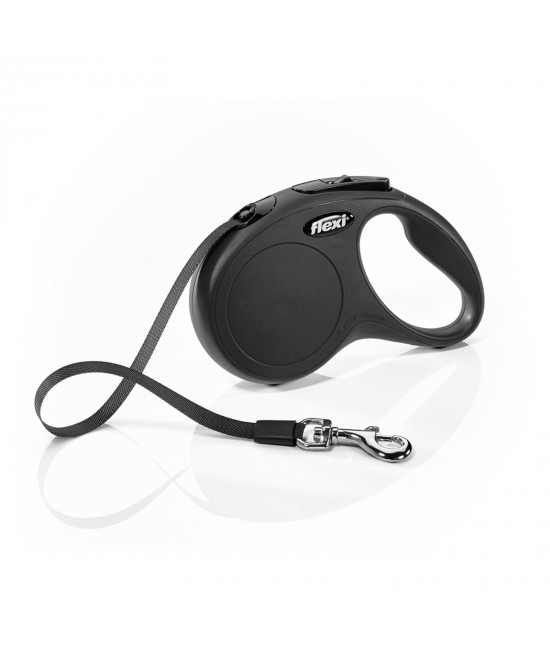 Flexi Retractable Classic Tape Lead Black 5m For Small Dogs
