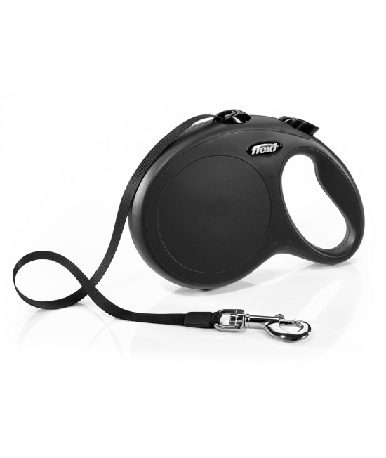 Flexi Retractable Classic Tape Lead Black 8m For Large Dogs