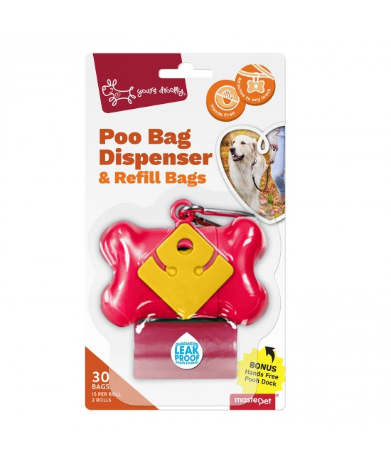 Yours Droolly Pet Waste Poo Bag Dispenser Red Bone With 30 Bags