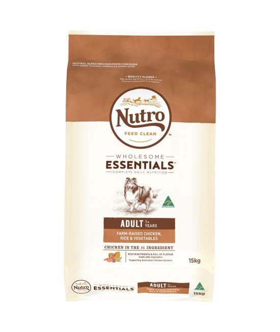 Nutro Wholesome Essentials Farm Raised Chicken Rice Vegetable Adult Dry Dog Food 15kg