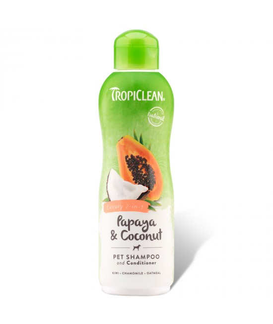 Tropiclean Papaya and Coconut Luxury 2 In 1 Shampoo For Cats And Dogs 355ml