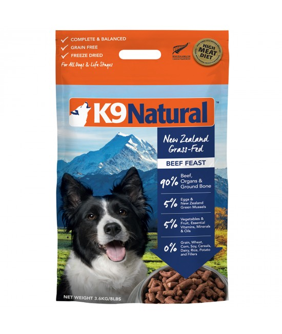 K9 Natural Grain Free Beef Feast Freeze Dried Meat Rehydratable Dog Food 3.6kg (makes 14kg)