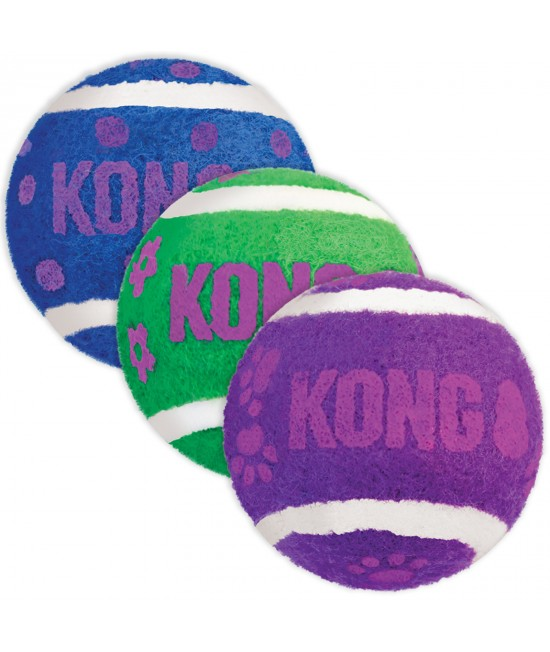 KONG Active Non Abrasive Tennis Balls With Internal Bell Chase Toy For Cats