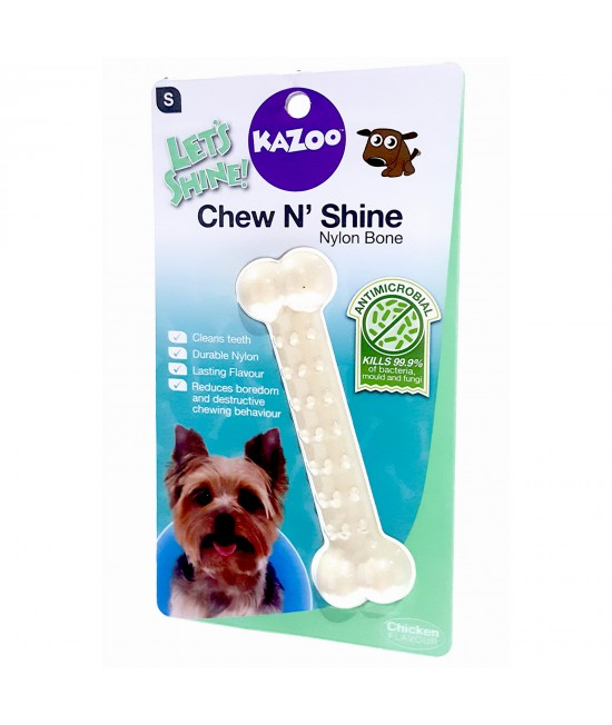 Kazoo Chew N Shine Nylon Bone Chicken Flavoured Small Treat Toy For Dogs