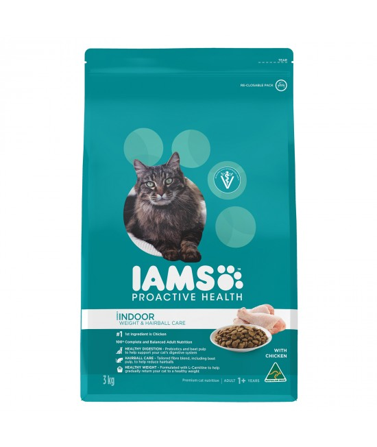 Iams Chicken Adult Indoor Weight And Hairball Care Dry Cat Food 3kg