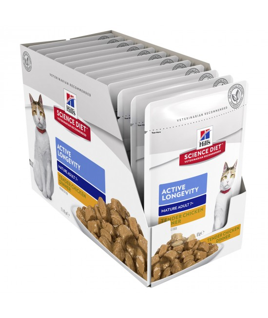 Hills Science Diet Active Longevity Chicken Mature/Senior 7+ Pouches Wet Cat Food 85gm x 12