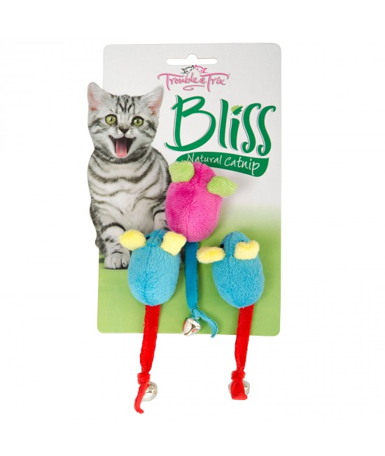 Trouble & Trix Bliss Mice Bell Toy With Catnip For Cats 3 Pack