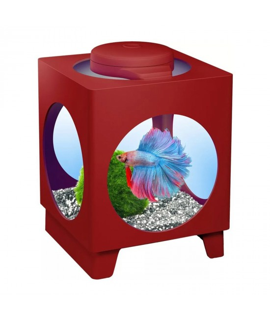 Tetra Betta Projector Aquarium Tank Bordeaux Wine Red With LED Light For Fish 1.8L