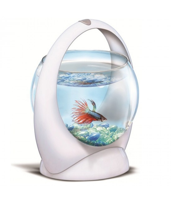 Tetra Betta Ring Aquarium Tank White With LED Light For Fish 1.8L