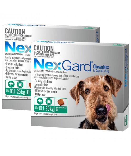 NexGard For Dogs Green Medium 10.1-25kg 12 Pack