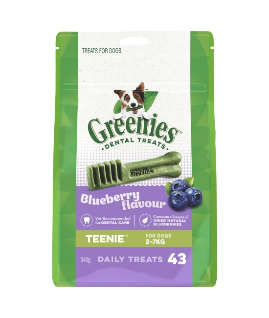 Greenies Dental Treats Blueberry Teenie For Dogs 2 - 7kg (43 Treats) 340g