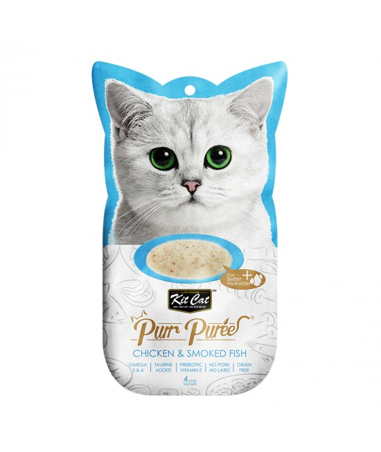 Kit Cat Purr Puree Chicken Smoked Fish Paste Treats For Cats 4 x 15gm