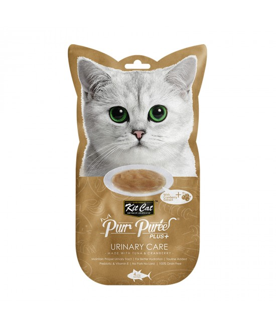 Kit Cat Purr Puree Plus+ Urinary Care Tuna Cranberry Paste Treats For Cats 4 x 15gm