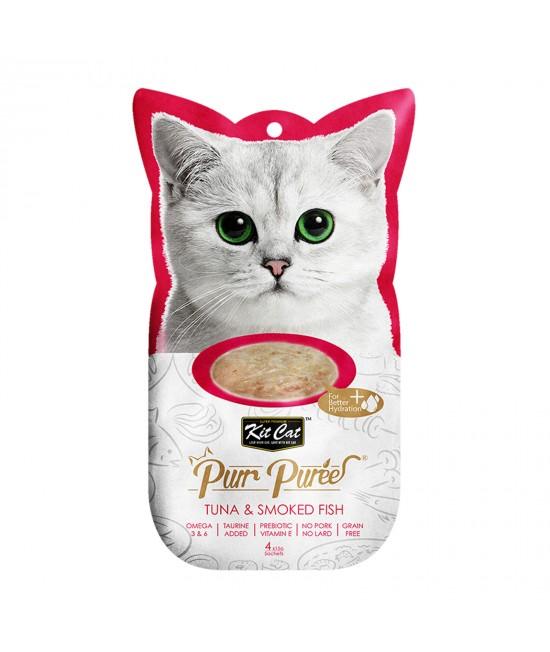 Kit Cat Purr Puree Tuna Smoked Fish Paste Treats For Cats 4 x 15gm
