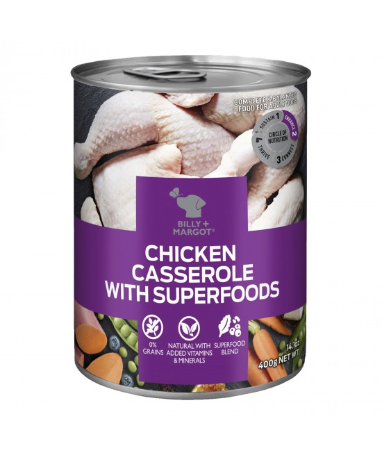 Billy + Margot Chicken Casserole With Superfoods Adult Wet Canned Dog Food 12 x 400g