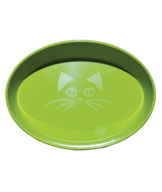 Scream Oval Whisker Bowl Loud Green For Cats 300ml
