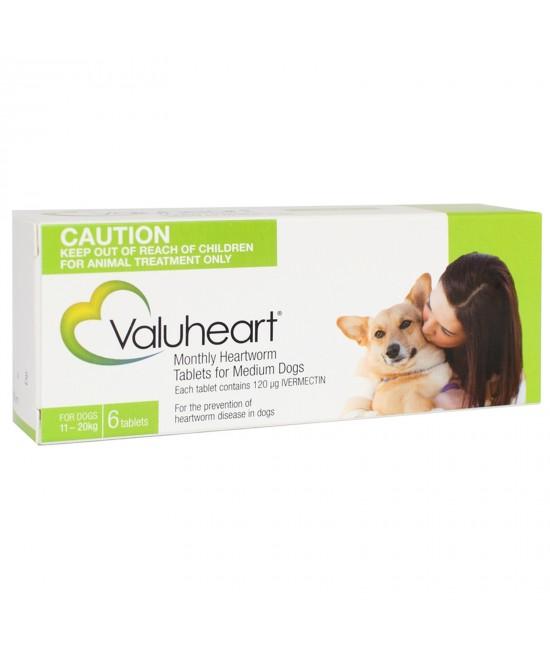 Valuheart For Medium Dogs 11-20kg 6 Tablets Green