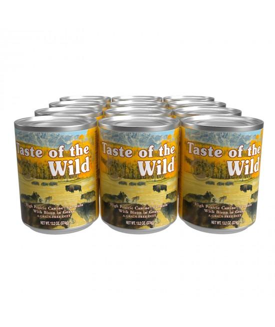 Taste Of The Wild Grain Free High Prairie Bison In Gravy Canned Wet Dog Food 12 x 374gm