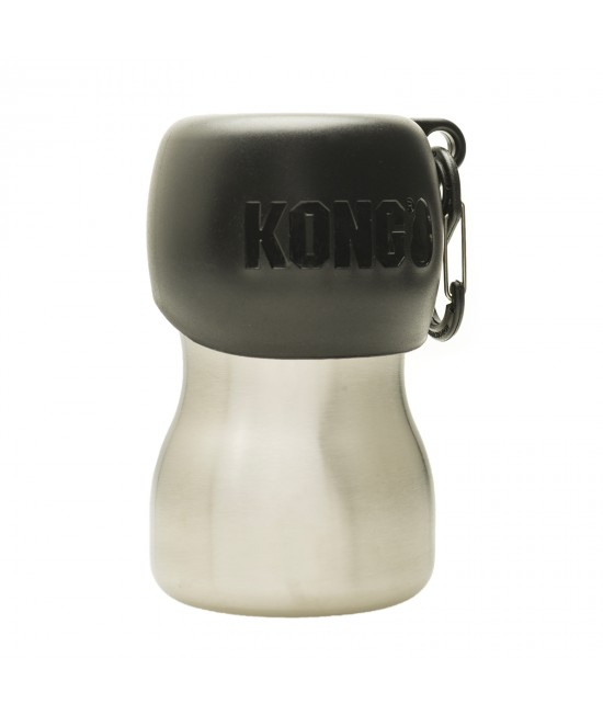 KONG H2O Stainless Steel Travel Water Bottle Black For Dogs 280ml