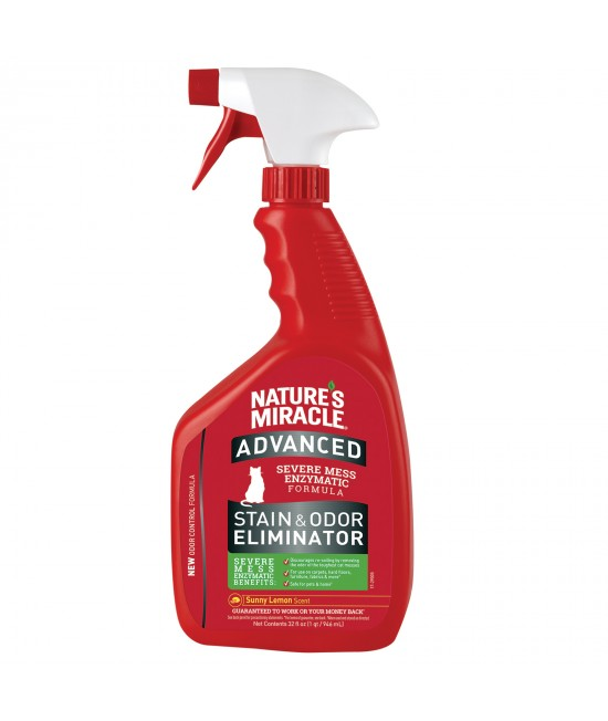 Natures Miracle Just For Cats Advanced Stain And Odour Remover Sunny Lemon Scent 946ml