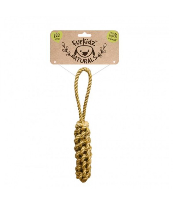 Furkidz Natures Choice Jute Log Natural Rope Toy For Dogs 30cm