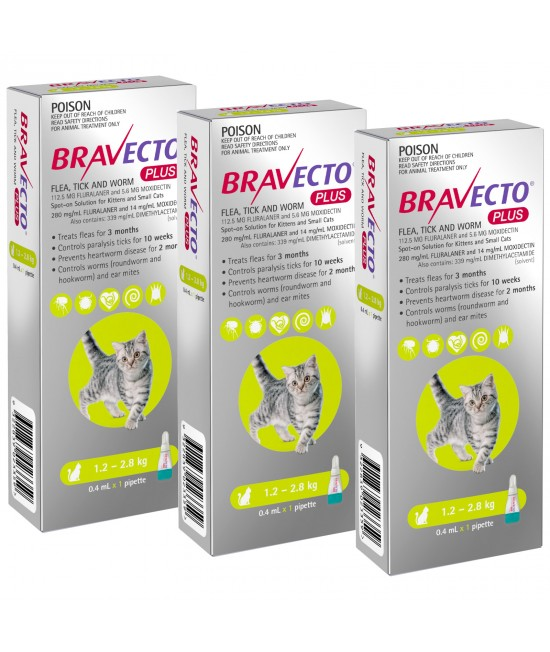Bravecto Plus Spot On For Kittens & Small Cats 1.2 - 2.8kg 3 Pack