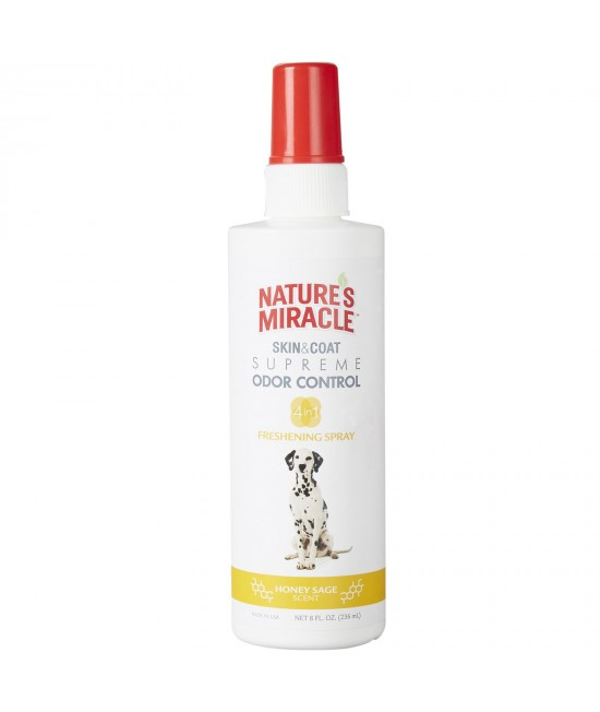 Natures Miracle Skin And Coat Supreme Odour Control Honey Sage 4 In 1 Grooming Spray 236ml