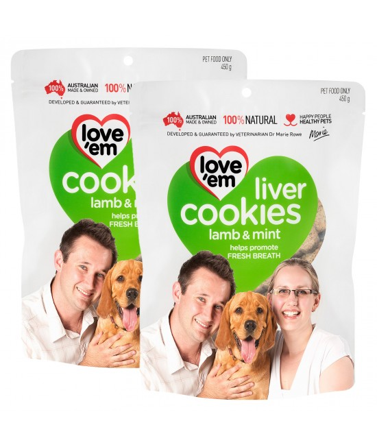 Love em Cookies Lamb And Mint Treats For Dogs 450g x 2 Pack