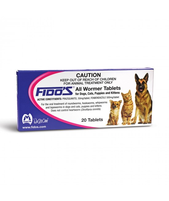 Fidos All Wormer Tablets For Dogs And Cats 2.5-10kg 20 Tablet Pack