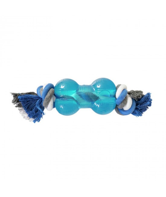 Yours Droolly Strong Rubber Bone With Rope Small Toy For Dogs