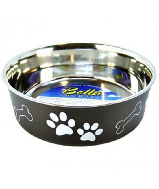 Loving Pets Bella Bowl Non Skid Stainless Steel Espresso Small For Dogs 450mL