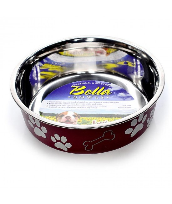 Loving Pets Bella Bowl Non Skid Stainless Steel Merlot Small For Dogs 450mL