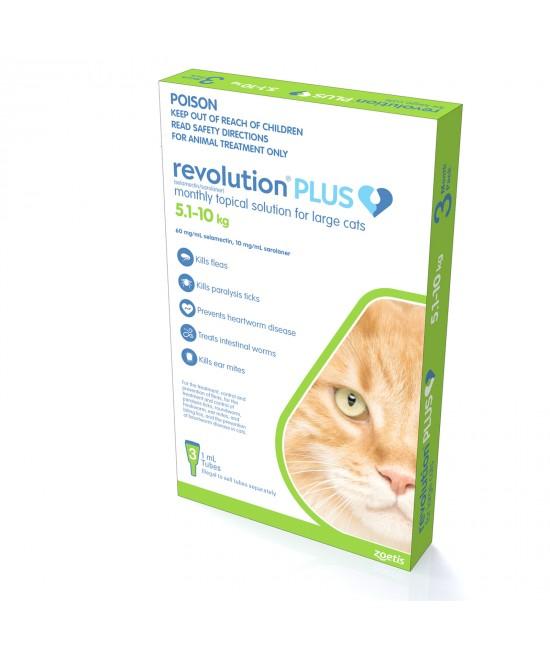 Revolution Plus For Large Cats 5-10kg 3 Pack