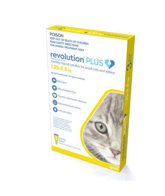 Revolution Plus For Kittens And Small Cats 1.25-2.5kg 3 Pack