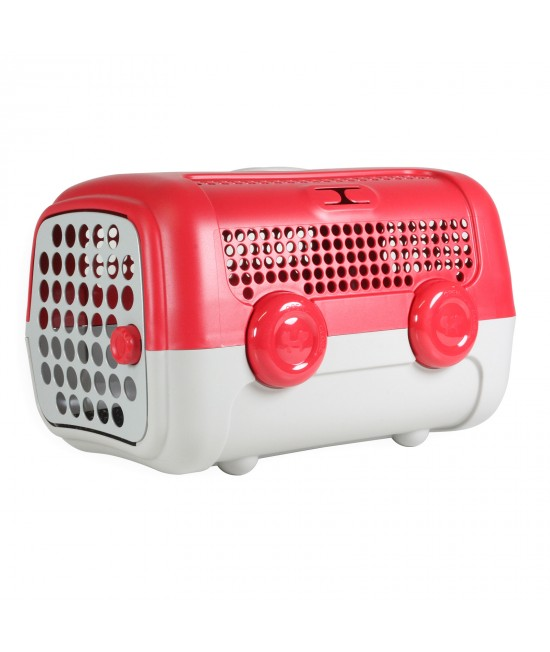 AUTO Pet Transport Carrier Crate Red Taupe For Small Dogs Cats Animals