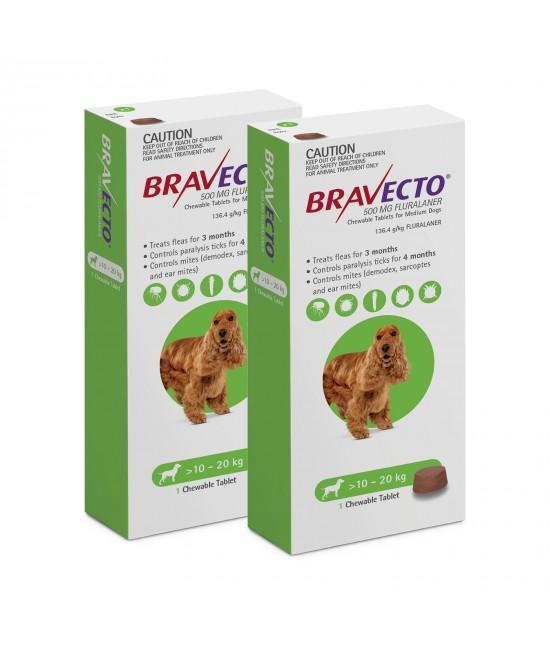 Bravecto for Medium Dogs 10-20kg 1 Chew X 2