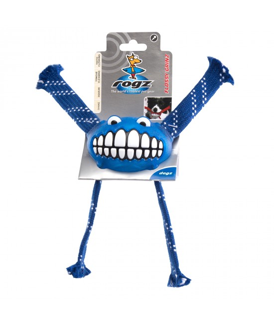 Rogz Flossy Grinz Squeak Blue Medium Toy For Dogs