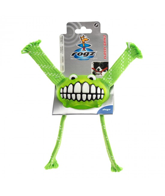 Rogz Flossy Grinz Squeak Lime Large Toy For Dogs
