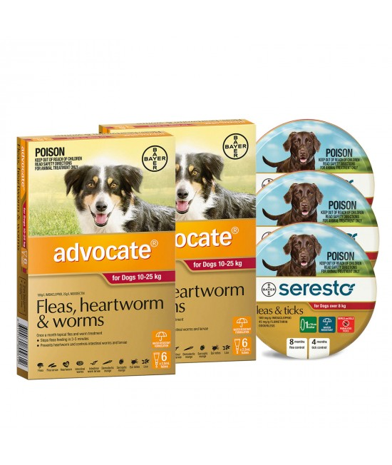Advocate And Seresto For Large Dogs 10-25kg - 12 Month Protection Pack