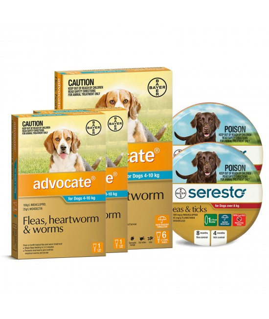 Advocate And Seresto For Medium Dogs 8-10kg - 8 Month Protection Pack