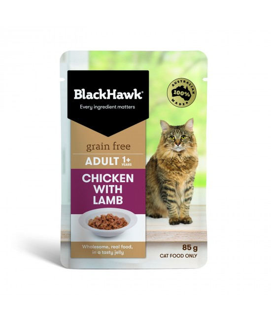 Black Hawk Grain Free Adult Chicken With Lamb In Jelly Pouches Wet Cat Food 85gm x 12